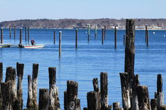Portland harbor, Maine. Man on a boat in Portland Harbor, Maine Stock Photography