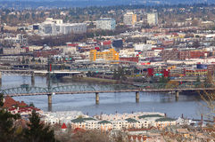 Portland Hawthorne bridge & industrial area. Stock Photos