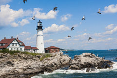 Portland Head fyr i Maine Arkivbild