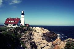 Portland Head fyr, Portland, Maine Arkivbild