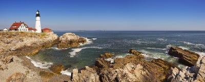 Portland Head fyren, Maine, USA på en solig dag Arkivfoto