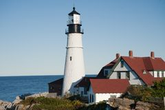 Portland Head Light. House is vibrant in the afternoon light in Portland, Maine Royalty Free Stock Photos