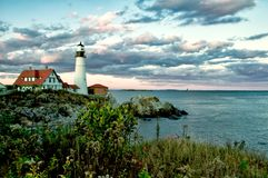 Portland Head Light. The Portland Head Light was completed and first lit in 1791 with 16 whale oil lamps. Located in Cape Elizabeth ME royalty free stock photo