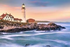 Portland Head light at dusk, in Maine stock photos