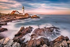 Portland Head light at dusk, in Maine royalty free stock photography