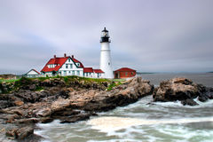 Portland Head Light, Maine. Portland Head has long protected Portland and the adjacent area. Cape Elizabeth residents were deeply committed to American Stock Photo