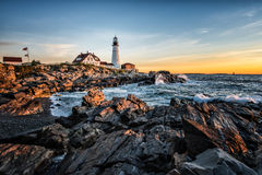 Portland Head Light. While photographing the sunrise on the Maine coast I was able to catch great color. The rough surf was great as it struck the rocky coast stock image