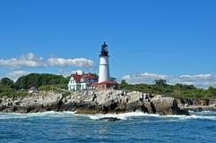Portland Head Light from the Sea. Portland Head Lighthouse outside of Portland, Maine Stock Photo