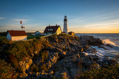 Portland Head Light sunrise. While photographing the sunrise on the Maine coast I was able to catch great color on the buildings royalty free stock photo