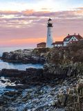 Portland Head Light at Sunset Royalty Free Stock Photography