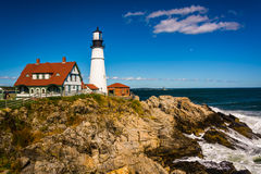 Portland Head Lighthouse and the Atlantic Ocean at Fort Williams Stock Images