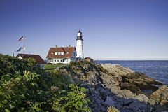 Portland head Light. House on a bright sunny afternoon in Portland, Maine Stock Photos