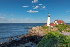 Portland Lighthouse in New England, Maine, USA. Portland Head Lighthouse in Cape Elizabeth, New England, Maine, USA. One Of The Most Iconic And Beautiful stock images