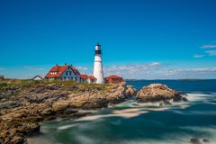 Portland Head Light and Fort William Park, Maine, USA royalty free stock image