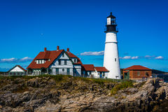 Portland Head Lighthouse at Fort Williams Park in Cape Elizabeth Royalty Free Stock Photography