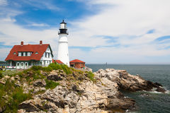 Portland Head Lighthouse at Fort Williams Park in Cape Elizabeth Royalty Free Stock Images