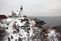 Portland Head Lighthouse During Holiday Season Royalty Free Stock Photo