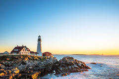 Free Portland Head Lighthouse In Maine, At Sunrise Stock Image - 66287151