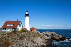Portland Head Lighthouse. Is located at the entrance of Portland Harbor in Cape Elizabeth, Maine, USA Royalty Free Stock Images