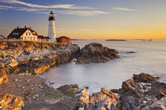 Portland Head Lighthouse, Maine, USA at sunrise. The Portland Head Lighthouse in Cape Elizabeth, Maine, USA. Photographed at sunrise Stock Photo