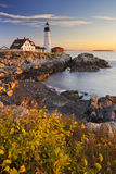 Portland Head Lighthouse, Maine, USA at sunrise Royalty Free Stock Image