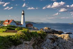 Portland Head Lighthouse. Portland Head Lighthouse in Cape Elizabeth, Maine, USA. Portland Headlight Completed in 1791, Portland Headlight is one of America`s royalty free stock photography