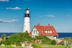 The Portland Head Lighthouse at sunset, Maine, USA royalty free stock photography