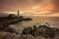 Portland Head Lighthouse at Sunset, Portland Maine stock image