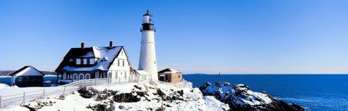 Panaroma of Portland Heahlight Lighthouse, Maine, USA. Portland Head Lighthouse, Fort Williams Park, Portland, Maine is one of the oldest lighthouses in stock photo