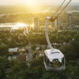 Portland-Himmeltram während des frühen Sonnenaufgangs Lizenzfreie Stockbilder
