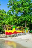 Traditional colorful bamboo outdoor vendor cook shop on Winnifred Beach in Portland, Jamaica royalty free stock image