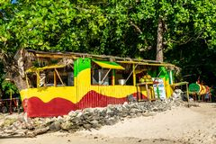 Traditional colorful bamboo outdoor vendor cook shop on Winnifred Beach in Portland, Jamaica stock photos