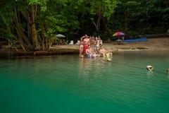 Portland Jamaica - November 24, 2017: En grupp av amerikanska turister som har gyckel på stranden på den blåa lagun arkivfoton