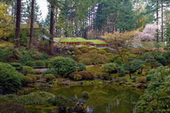 Portland Japanese Garden by the Lake in Oregon. Portland Japanese Garden with reflection in the lake during Spring season in Oregon stock images