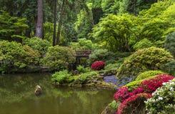 Portland Japanese Garden in Spring. Portland, OR USA - May 9th, 2018. The Portland Japanese Garden is a traditional Japanese Garden, located within Washington royalty free stock photos