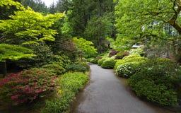 Portland Japanese Garden in Spring. Portland, OR USA - May 9th, 2018. The Portland Japanese Garden is a traditional Japanese Garden, located within Washington stock photography