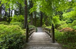 Portland Japanese Garden in Spring. Portland, OR USA - May 9th, 2018. The Portland Japanese Garden is a traditional Japanese Garden, located within Washington stock images