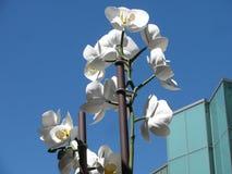PORTLAND, OF - 28 JULI, 2017 - het Monumentale witte de orchideeënbeeldhouwwerk van Isa Genzken bevelen aandacht buiten Portland  Royalty-vrije Stock Foto's