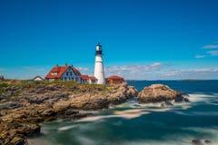Portland-Kopf-Licht und Fort William Park, Maine, USA lizenzfreies stockbild