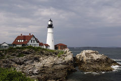 Portland Light House. A light house on the cliffs in portland maine royalty free stock photo