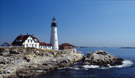 Portland lighthouse. Ocean view of the portland lighthouse in maine royalty free stock images