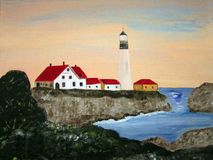 Portland Lighthouse. Painting of the Portland Lighthouse Royalty Free Stock Photography