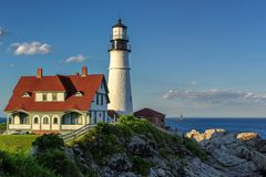 Portland Lighthouse in Cape Elizabeth. Portland Head Lighthouse in Cape Elizabeth, Maine, USA. Portland Headlight Completed in 1791, Portland Headlight is one of royalty free stock photos