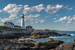 Portland Lighthouse in Cape Elizabeth, Maine, USA. Portland Head Lighthouse in Cape Elizabeth, Maine, USA. One Of The Most Iconic And Beautiful Lighthouses royalty free stock photos