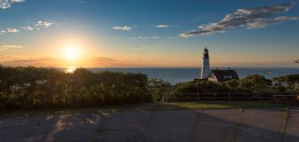 Portland Lighthouse in Cape Elizabeth, New England, Maine, USA. Panoramic view of Portland Head Lighthouse at sunrise in Cape Elizabeth, New England, Maine, USA stock image