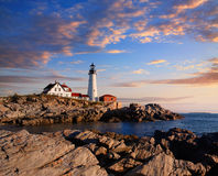 Portland Lighthouse Morning. One Of The Most Iconic And Beautiful Lighthouses, The Portland Head Light Under Early Morning Skies, Portland, Maine, USA royalty free stock photos