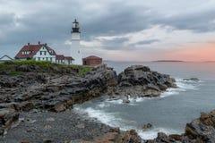 Portland Lighthouse at sunrise Maine, USA. stock image