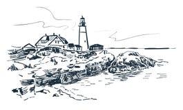 Portland lighthouse vector sketch landscape line illustration skyline royalty free illustration