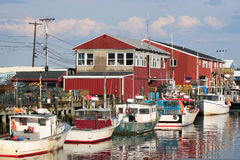 Portland, Maine. Boats anchored in the harbor in Portland, Maine stock photography