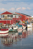 Portland, Maine. Boats anchored in the harbor in Portland, Maine stock photos